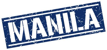 manila: Manila blue square stamp Illustration