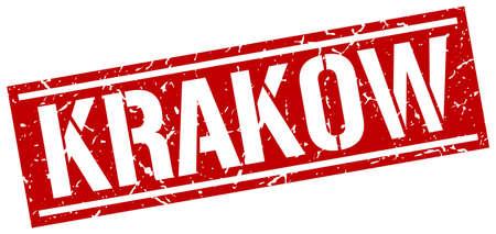 Cracovie rouge timbre carré Banque d'images - 63876272
