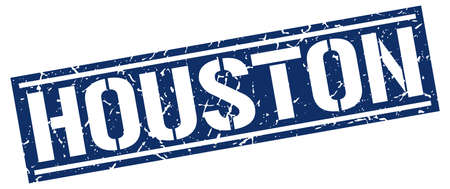 houston: Houston blue square stamp