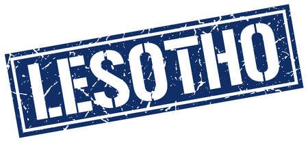 lesotho: Lesotho blue square stamp
