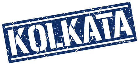 kolkata: Kolkata blue square stamp Illustration