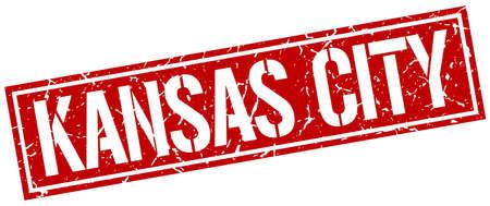 KANSAS: Kansas City red square stamp Illustration