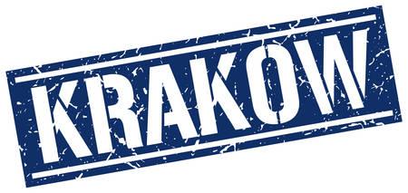 Krakow timbre carré bleu Banque d'images - 63877795