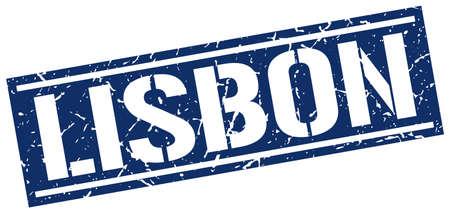 lisbon: Lisbon blue square stamp