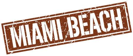 miami: Miami Beach brown square stamp
