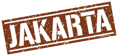 jakarta: Jakarta brown square stamp Illustration