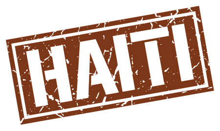 haiti: Haiti brown square stamp