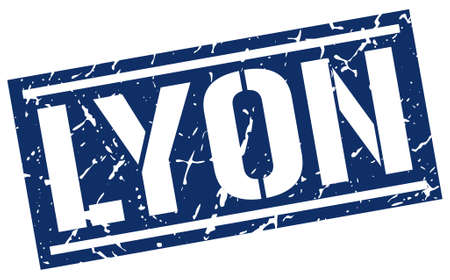 lyon: Lyon blue square stamp Illustration