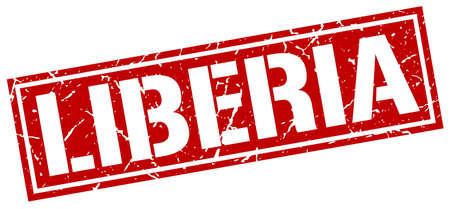 liberia: Liberia red square stamp