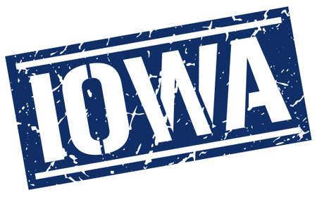 iowa: Iowa blue square stamp Illustration
