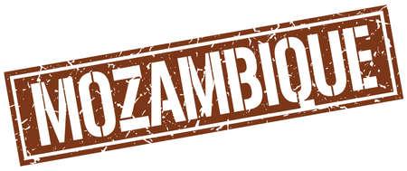 mozambique: Mozambique brown square stamp Illustration
