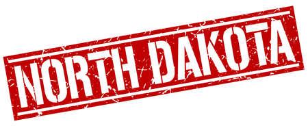 dakota: North Dakota red square stamp Illustration