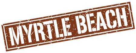 myrtle beach: Myrtle Beach brown square stamp
