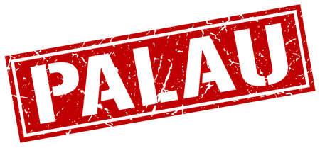 palau: Palau red square stamp