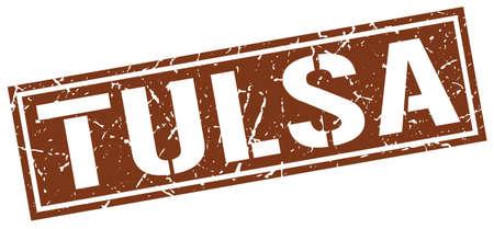 tulsa: Tulsa brown square stamp Illustration