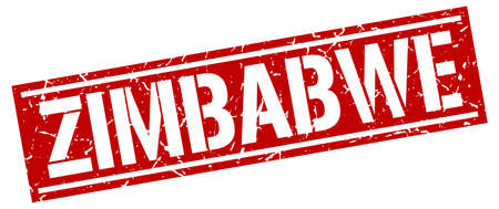 zimbabwe: sello cuadrado rojo Zimbabwe