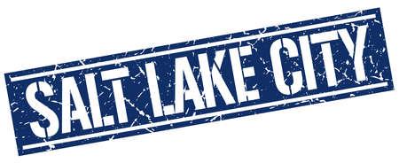 salt lake city: Salt Lake City blue square stamp
