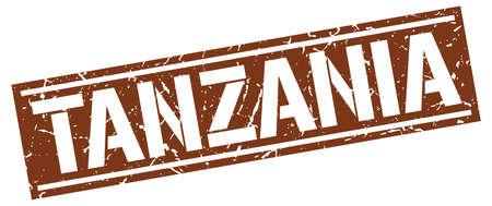 brown: Tanzania brown square stamp Illustration