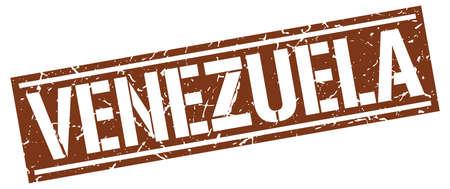 venezuela: Venezuela brown square stamp Illustration