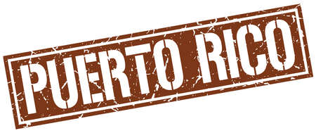 puerto rico: Puerto Rico brown square stamp