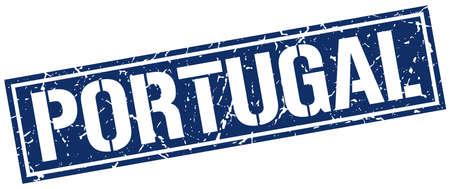 portugal: Portugal blue square stamp Illustration