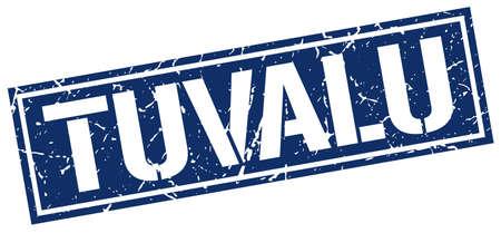 tuvalu: Tuvalu blue square stamp Illustration