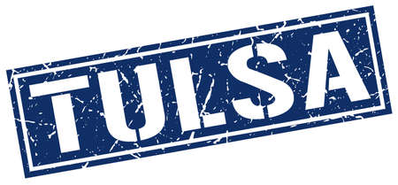 Tulsa blue square stamp