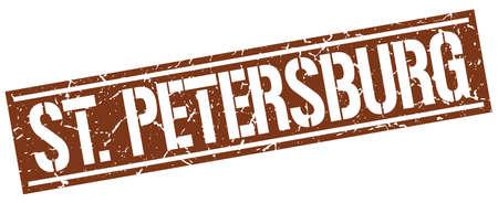 st  petersburg: St. Petersburg brown square stamp Illustration