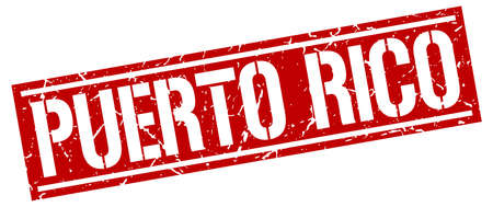 puerto rico: Puerto Rico red square stamp Illustration