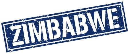 zimbabue: Zimbabwe blue square stamp