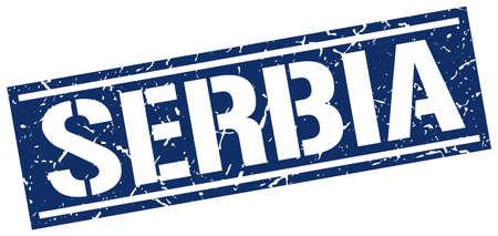serbia: Serbia blue square stamp