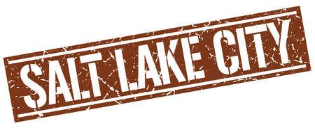 salt lake city: Salt Lake City brown square stamp