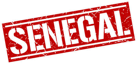 senegal: Senegal red square stamp