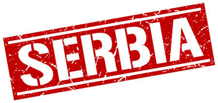 serbia: Serbia red square stamp Illustration