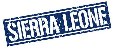 sierra leone: Sierra Leone blue square stamp Illustration