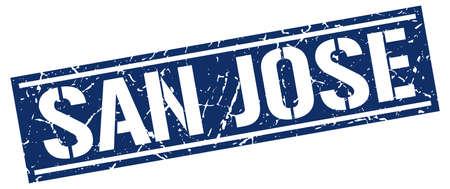 san jose: San Jose blue square stamp Illustration