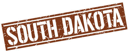 south dakota: South Dakota brown square stamp