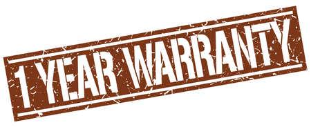 one year warranty: 1 year warranty square grunge stamp