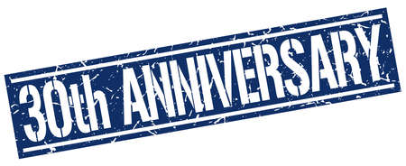 30th: 30th anniversary square grunge stamp