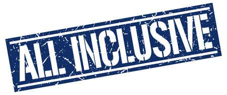 inclusive: all inclusive square grunge stamp