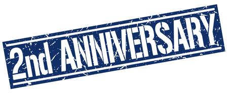 2nd: 2nd anniversary square grunge stamp