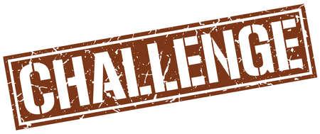 challenge square grunge stamp 向量圖像