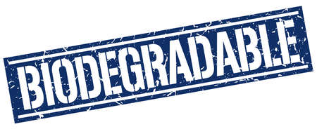 biodegradable: biodegradable square grunge stamp Illustration