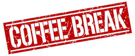 coffee break: coffee break square grunge stamp