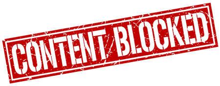 blocked: content blocked square grunge stamp Illustration