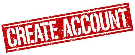 account: create account square grunge stamp