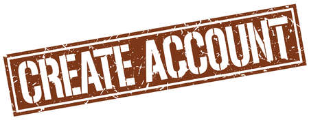 create: create account square grunge stamp