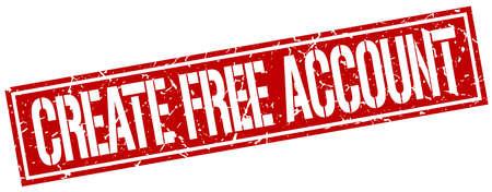 create: create free account square grunge stamp Illustration