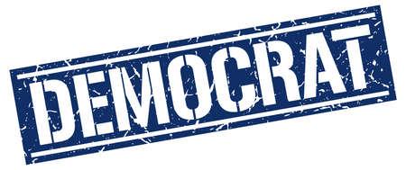 democrat: democrat square grunge stamp