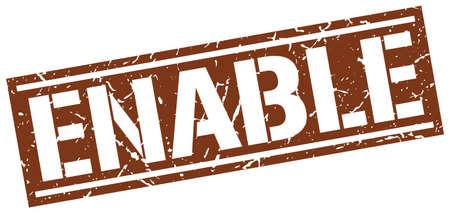 enable: enable square grunge stamp Illustration